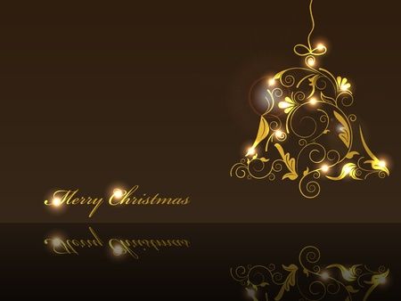 Vector picture of white silhouette of christmas bell on black background Vector