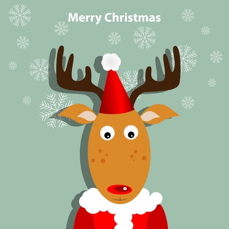 Greeting card with xmas deer Vector
