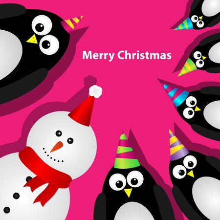 Greeting card with penguins and snowman Vector