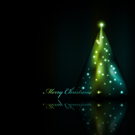 Greeting card with abstract xmas tree Vector