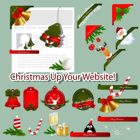 Set of xmas website elements Vector