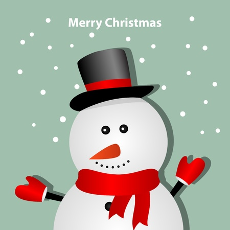 Greeting card with snowman Vector