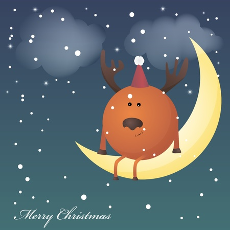 Dreaming deer on a moon Vector