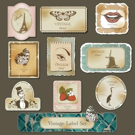 paris vintage: Etiqueta de la vendimia y del juego de papel viejo