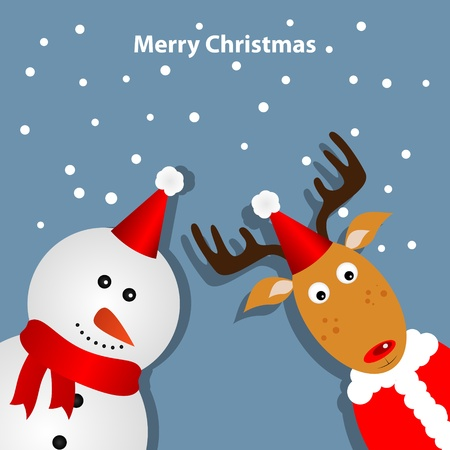 Greeting card with deer and snowman Vector