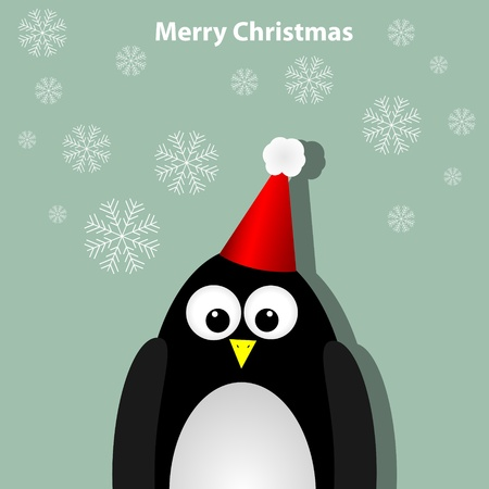 Greeting card with penguin Vector