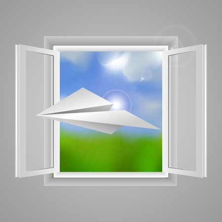 Window and paper airplane Vector