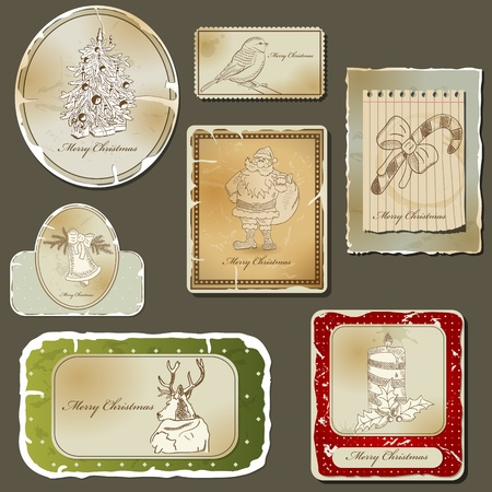 Vintage christmas label  and old paper set Vector