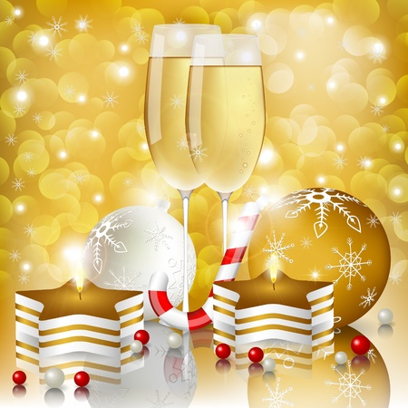 New year greeting card with champagne Vector