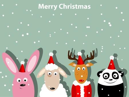 osos navide�os: Tarjeta de felicitaci�n con conejo, venado barco, y el oso panda