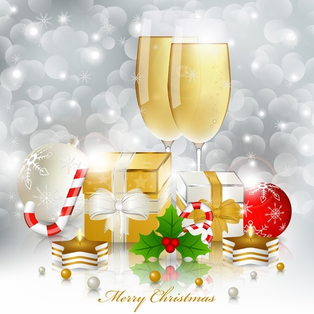 Glasses of champagne and candles: New year greeting card with champagne