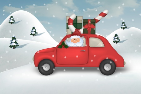 winter car: Christmas greeting card
