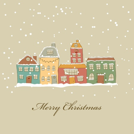 small town: Christmas card with town and snow