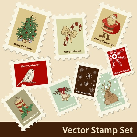 Vector Christmas stamps set Vector
