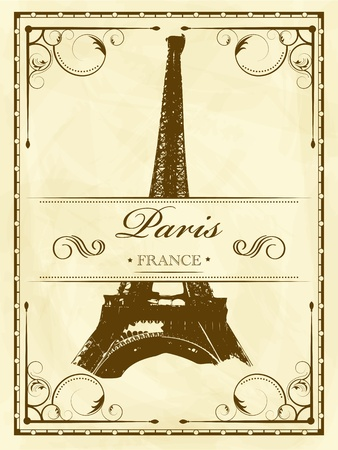 ビンテージ ベクトル パリ  イラスト・ベクター素材