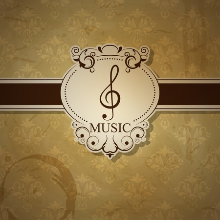 Vector musical background with treble clef Vector