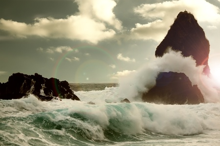 storm sea: Stormy weather, Sicily, Italy Stock Photo