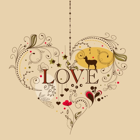 Vintage heart shape Vector