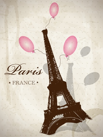 Vector romántica tarjeta postal con la torre Eiffel