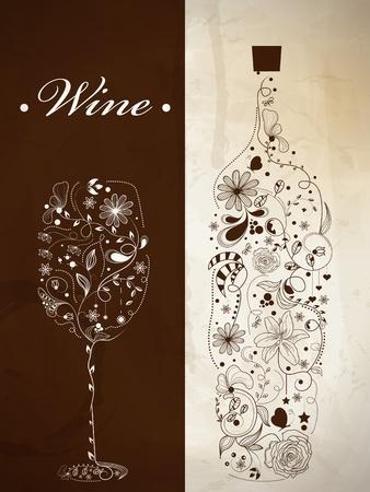와인: 와인 병 및 와인 잔의 추상 그림 일러스트