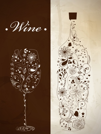 Abstract picture of wine bottle and wine glass Vector