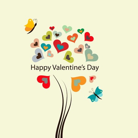 multi colors: Vector picture with tree and heart shape leafs