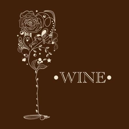 Abstract beeld van wijnglas Vector Illustratie