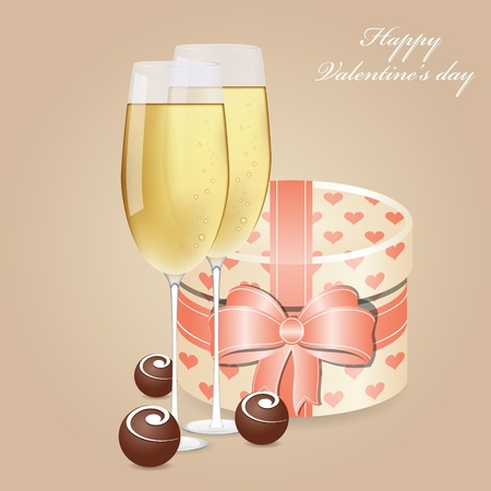 Greeting card with champagne and chocolate Vector