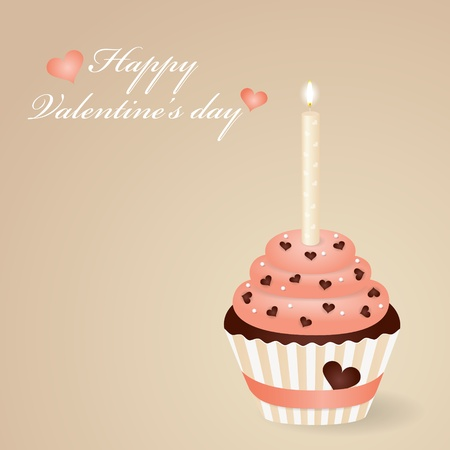 Valentines day greeting card with cute cupcake Vector