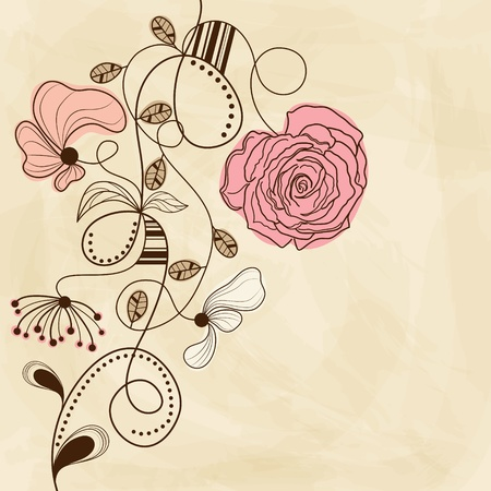 Vector hand drawn picture with flowers  Vector
