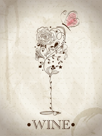 Abstract picture of wine glass Vector