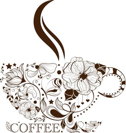 kroes: Vector beeld met kopje koffie Stock Illustratie