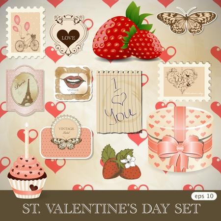 paris vintage: San Valentín Vectores