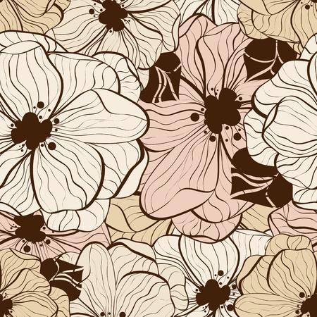 monocrom�tico: Vector flower seamless pattern