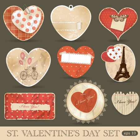 St Valentine's day scrapbook design elements Vector