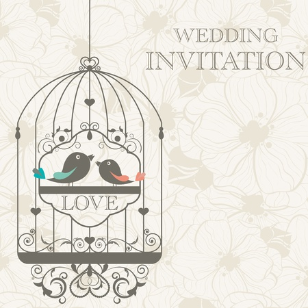 love birds: pattern for wedding invitation Illustration