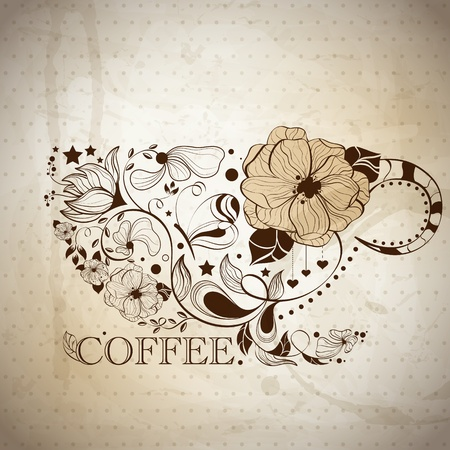 picture with coffee cup Illustration