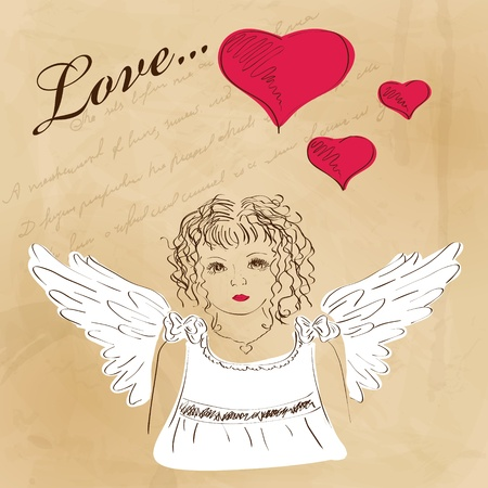 St. Valentines day  greeting card with angel Vector