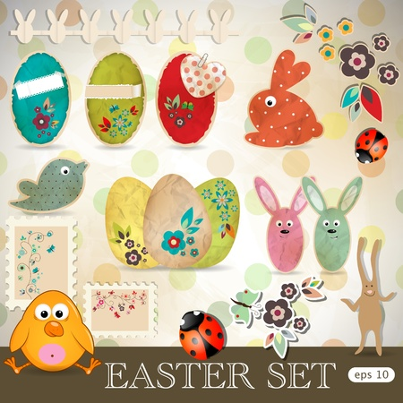 Easter scrapbooking design elements set Vector