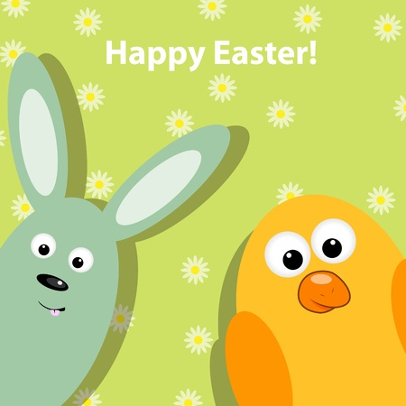 Easter greeting card with funny rabbit and chicken Vector