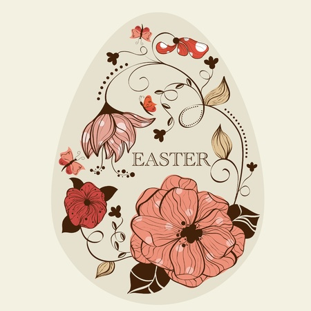 Abstract floral ester egg Vector