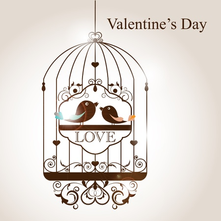 in a cage: St. Valentines day greeting card with birds Illustration