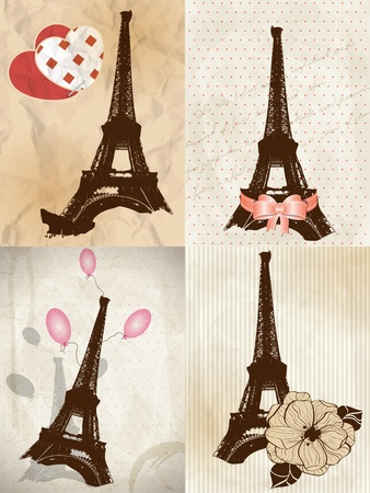 paris vintage: Vector romantic greeting cards with Eiffel tower