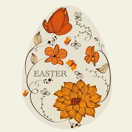 Abstract floral ester egg Vector