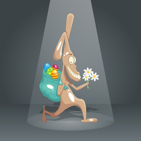 Funny rabbit stealing easter eggs Vector