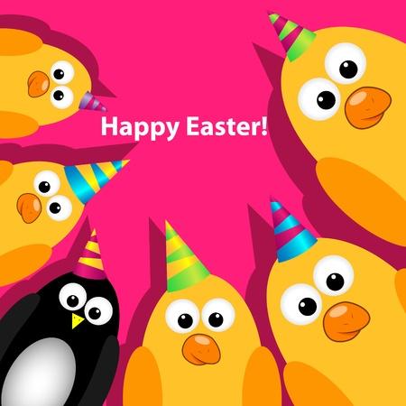 pinguino caricatura: Tarjeta de felicitación de Pascua Vectores