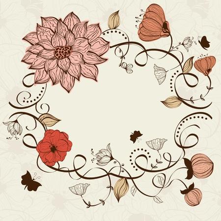 cute border: Vector floral frame Illustration
