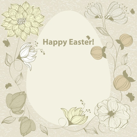 doodle art clipart: Abstract floral ester egg