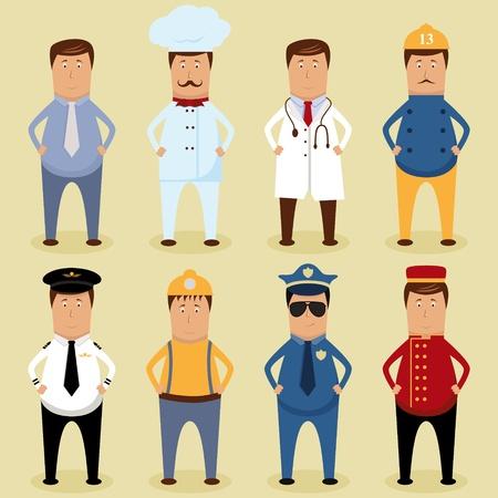 Vector werknemer set - Ofice werknemer, chef-kok, dokter, brandweerman, piloot, timmerman, politieagent, Porter Vector Illustratie