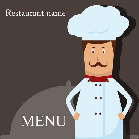 italian chef: Vector menu pattern with chef Illustration
